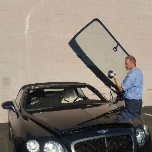 Replacing windshield at Rusnak Bentley