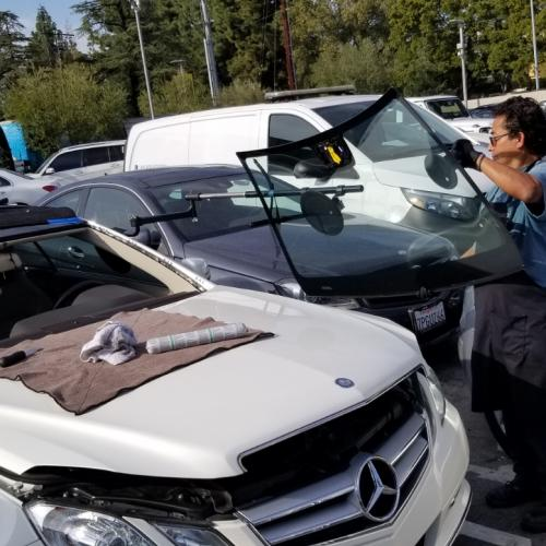 Arturo, replacing a windshield at Keyes Mercedes