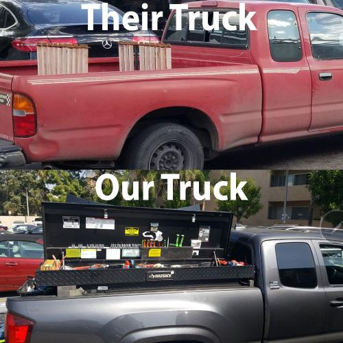 Our completion's truck vs our truck. Which one would you want to show up at your house to do your windshield
