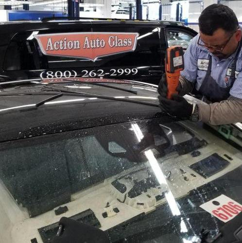 Tony removing a broken roof glass at Keyes Mercedes